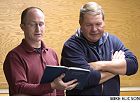 Sgt. Maj. Richard Winkleman (right) of the 300th Military Police Brigade in Columbus, Ohio, says his congregation, St. John Lutheran Church, Lakeville, Ohio, supports him emotionally while he grieves for his son, Damon, killed in action in September 2009.