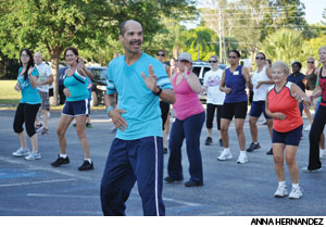 Gonzalo Hernandez leads a group of Zumba® participants at Trinity Lutheran Church in Bradenton, Fla.