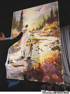 The painting, completed in 55 minutes, was auctioned to provide meals for people in need.