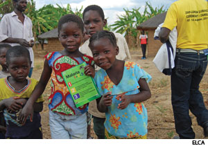 Children in Zambia find that learning about malaria prevention and treatment is as easy as 1,2,3.