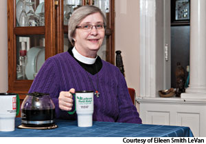 "Eileen Smith LeVan, pastor of Nativity Lutheran, Reading, Pa., enjoys her congregation's fair trade coffee and invests her entire ELCA retirement account in social purpose funds through Portico Benefit Services.  ""I know my money will be invested in ways compatible with my values,"" she says."