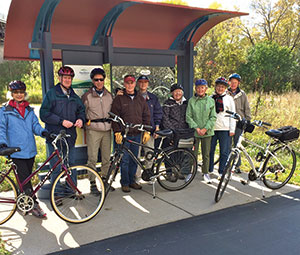 Photo by John Eidem Bikers, part of the Purposeful Retirement program of Shepherd of the Valley Lutheran Church, Apple Valley, Minn., pause along the local biking trail.