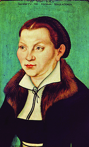 LUCAS CRANACH THE ELDER WORKSHOP, 1529. Scholars today describe Katharina von Bora, Martin Luther's wife, as a housewife and the manager of a midsized business, feeding family, student boarders and frequent guests by purchasing land, raising crops and livestock, and handling all the household finances.