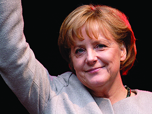 PHOTO BY ALEPH German Chancellor Angela Merkel was raised as a Lutheran pastor's daughter in the former East Germany. Merkel has been ranked by Forbesas one of the most powerful women in the world for nine of the last 10 years.