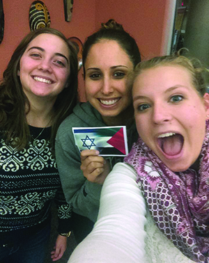 "Leah Weinstein (left), Mathilda Nassar and Shaina Lidd, students at Roanoke, Salem, Va., were the organizing force behind the college's first ""Israel-Palestine Peace Month"" last spring. Although Nassar and Lidd have graduated, Weinstein will plan the 2016 event."