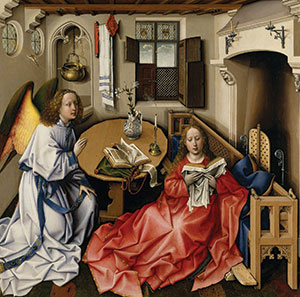 """Merode Altarpiece Tripych,"" center panel (c. 1425-1428); oil on wood panel by Robert Campin (1375-1444; Flemish); Metropolitan Museum of Art, N.Y."