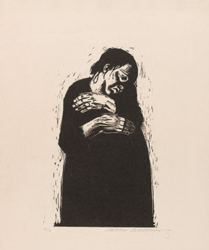 """The Widow,"" plate 4 from ""War"" (Krieg) series(1921-22, published 1923); woodcut by Käthe Kollwitz (1867-1945; German); Museum of Modern Art, N.Y."