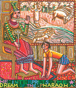 """The Story of Joseph"" detail, ""Joseph Interprets Pharaoh's Dreams"" (1986); serigraph in 34 colors by John August Swanson (1938-), the son of a Mexican mother and Swedish father who now lives in Los Angeles."