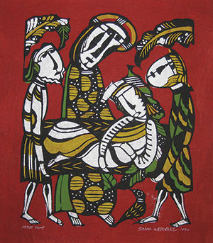 """Christ's Pity of the Sick"" (1970); mingei (folk art) print on kozo paper by Sadao Watanabe (1913-1996: Japan)."