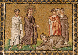 """Jesus Healing the Woman with an Issue of Blood""; mosaic in the Basilica di Sant'Apollinare Nuovo (sixth century), Ravenna, Italy."