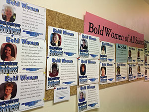 "Youth at All Saints Lutheran, Port Orange, Fla., last year honored women in the congregation by creating a ""Bold Women Wall"" of posters in celebration of Women of the ELCA's Bold Women's Day."