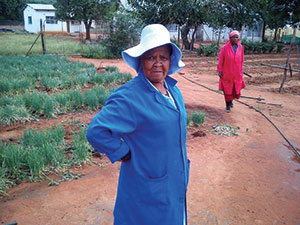 Dora Mosmele, a member of the Evangelical Lutheran Church in South Africa (ELCSA), checks on spring onions at the Manyana Lutheran Diakonia (MALUDI) Garden Project in Manyana, Botswana. Produce from the garden is distributed to locals living with HIV and AIDS.