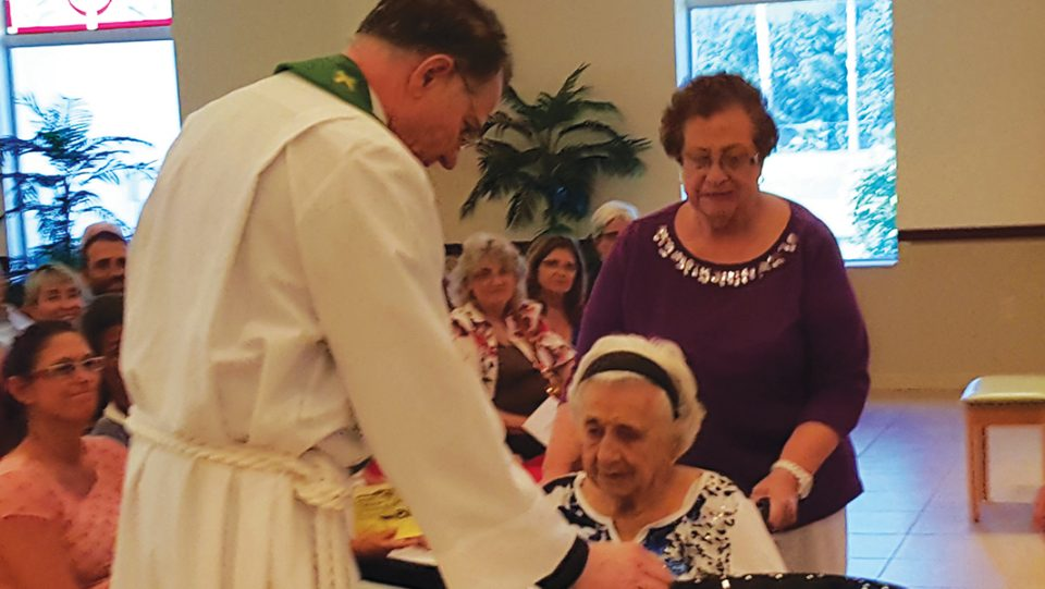 Helen Gallik Abelt was baptized at the age of 100 on Nov. 1 at New Life Lutheran Church in Sarasota, Fla.