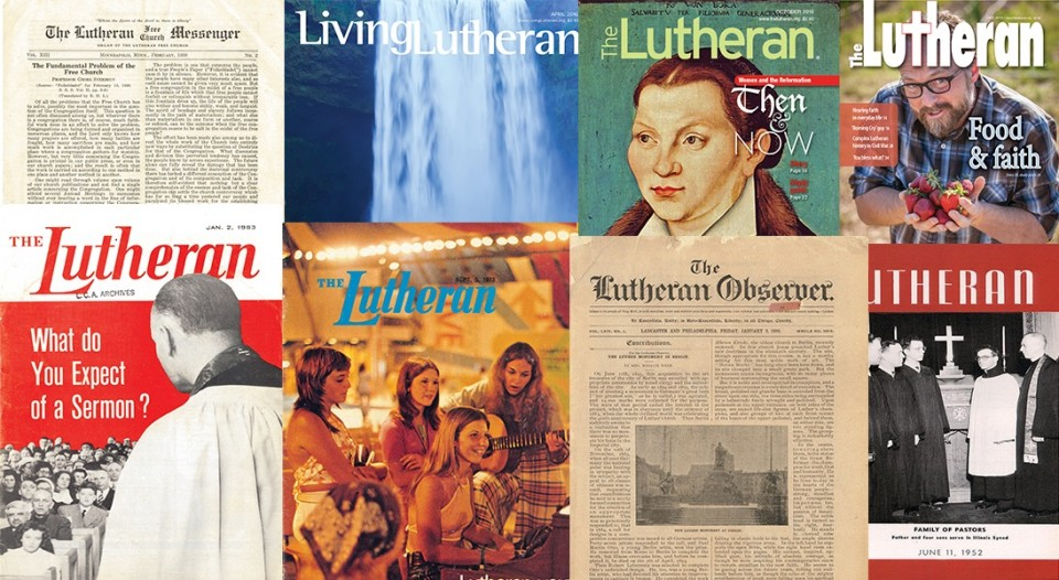 A collage of covers of The Lutheran