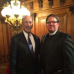 Shawn Berkebile, ELCA pastor, with Tom Wolf, Pennsylvania governor.