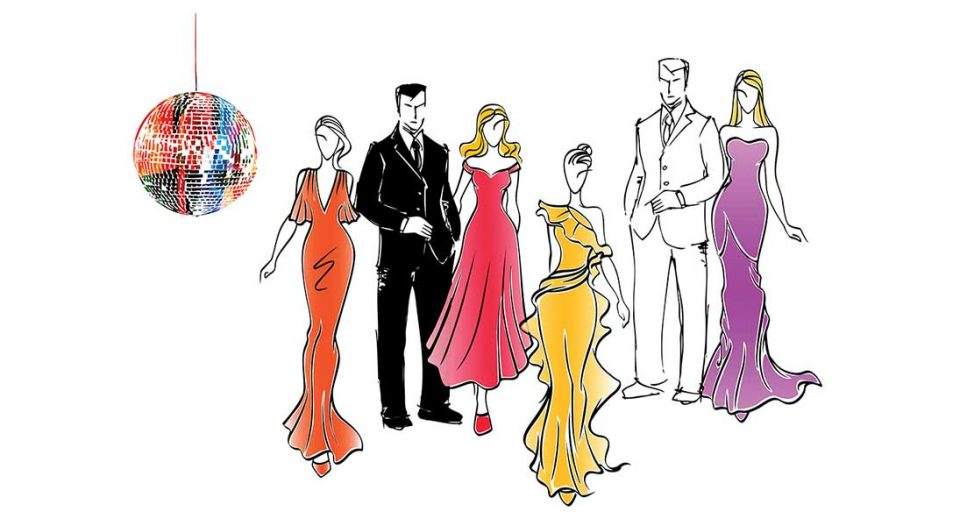 Sketch drawing of people in formal wear.