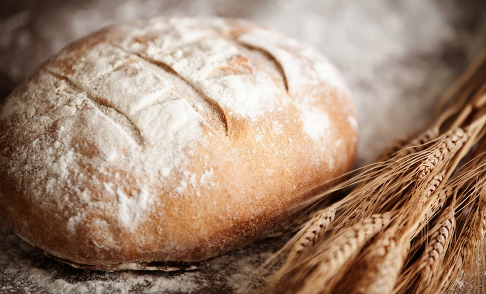 Daily bread topped with white flour.
