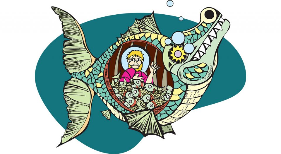 Jonah in the belly of the fish