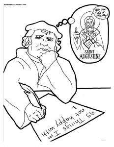 martin luther with a thought bubble is one of 44 designs for the reformation study