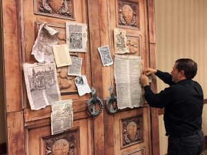 Set pieces from Luther the Rock Opera included a set of doors to which Martin Luther nailed the 95 Theses. & Martin Luther gets graphic novel musical theater treatment - Living ...