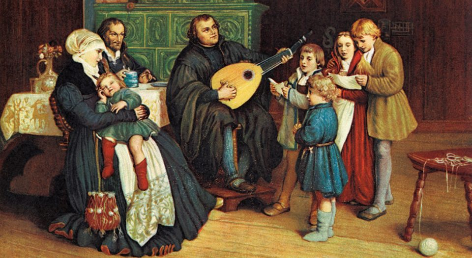 A painting of Martin Luther and his family. Luther is playing a lute.
