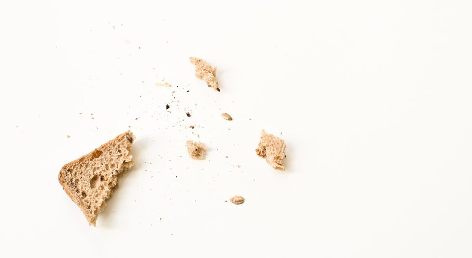 Bread crumbs on a white table