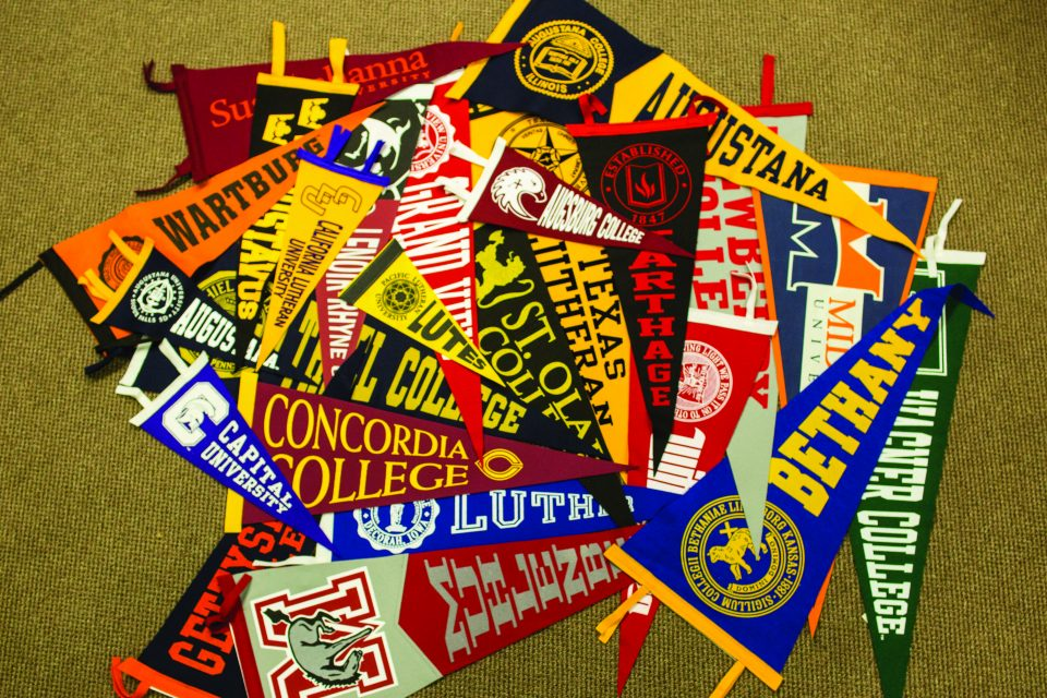 ELCA Colleges and Universities are represented in pennants hung in the ELCA Churchwide Office.