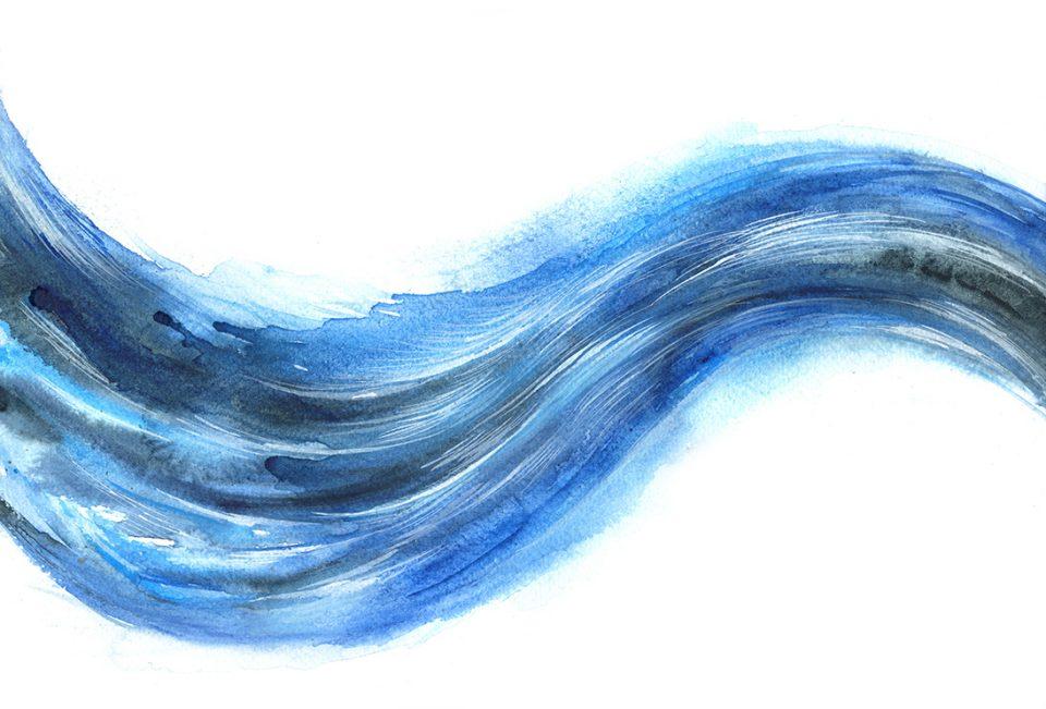 Flowing blue wave