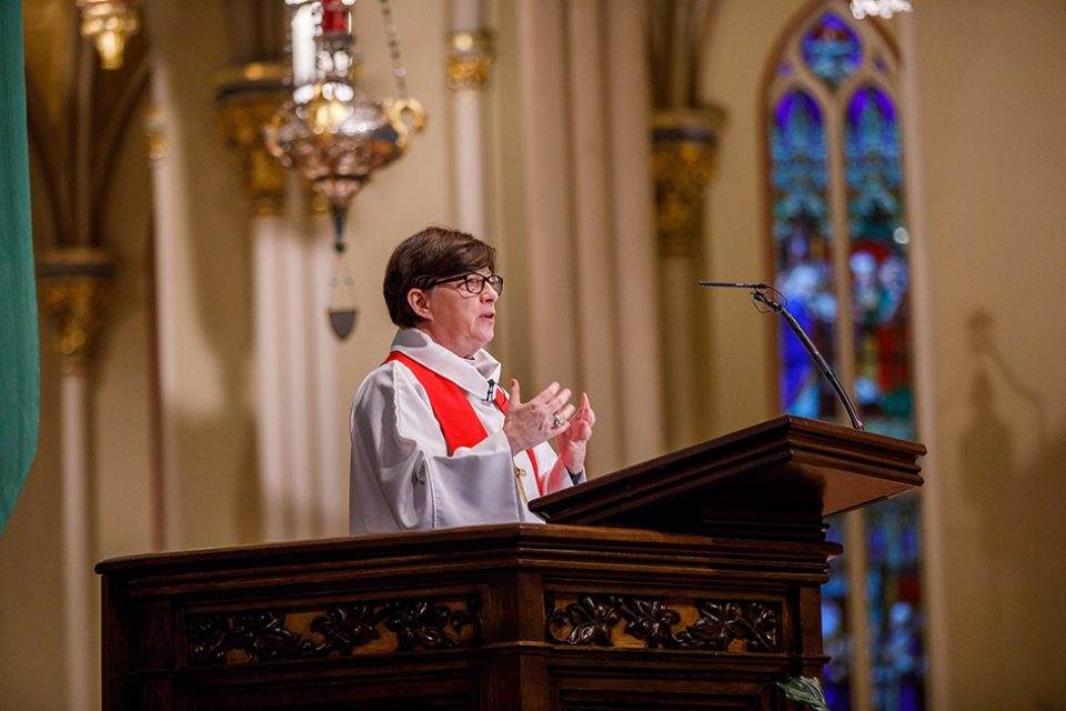 Presiding Bishop Elizabeth Eaton delivered the sermon during an ecumenical prayer service Nov. 5 at the Basilica of the Sacred Heart at the University of Notre Dame.