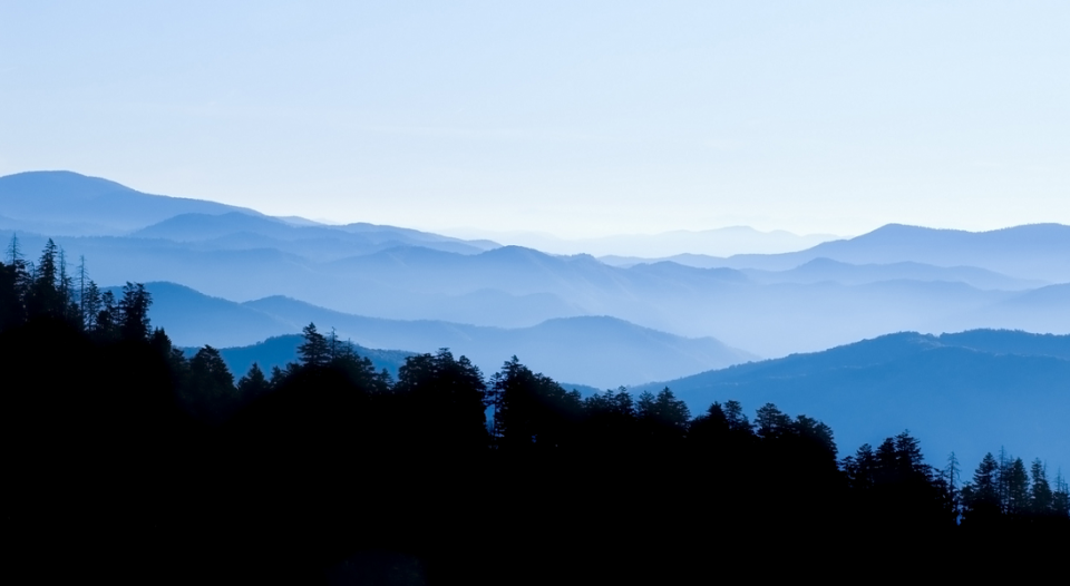 A distant view of the Blue Ridge Mountains