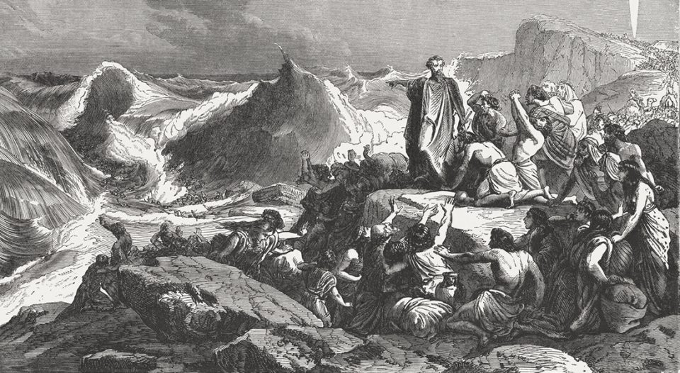 Pharaoh's downfall in the Red Sea (Exodus 14). Wood engraving, published in 1886.