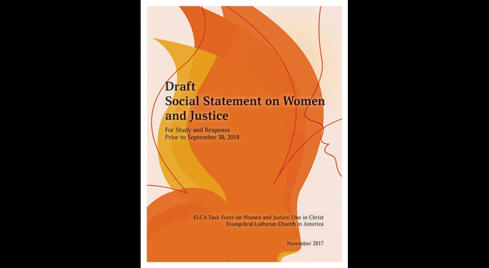 The cover of the draft of the ELCA social statement on women and justice.