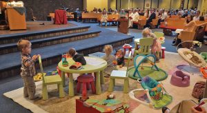 Children play in the Pray-Ground at Grace Lutheran Church, Apple Valley, Minn., on Mother's Day 2015. This image is part of the church's Facebook album that went viral in 2016.