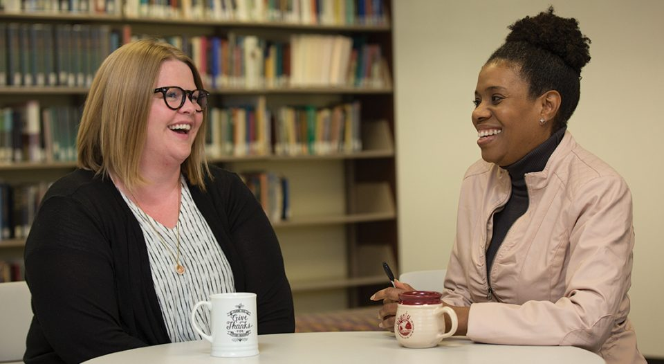 Judith Roberts, (right) ELCA director for Racial Justice Ministries, and Aubrey Thonvold of ReconcilingWorks discuss their work and the challenges they face.