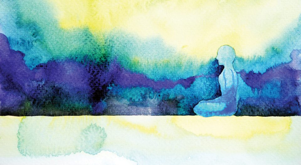 a bstract art watercolor painting human meditating calm peace design hand drawn