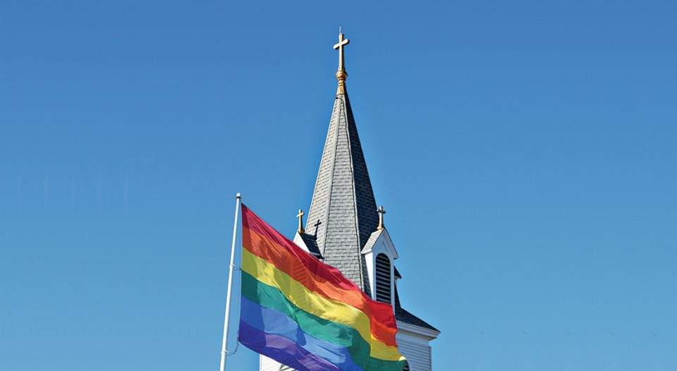 Rainbow flag with church