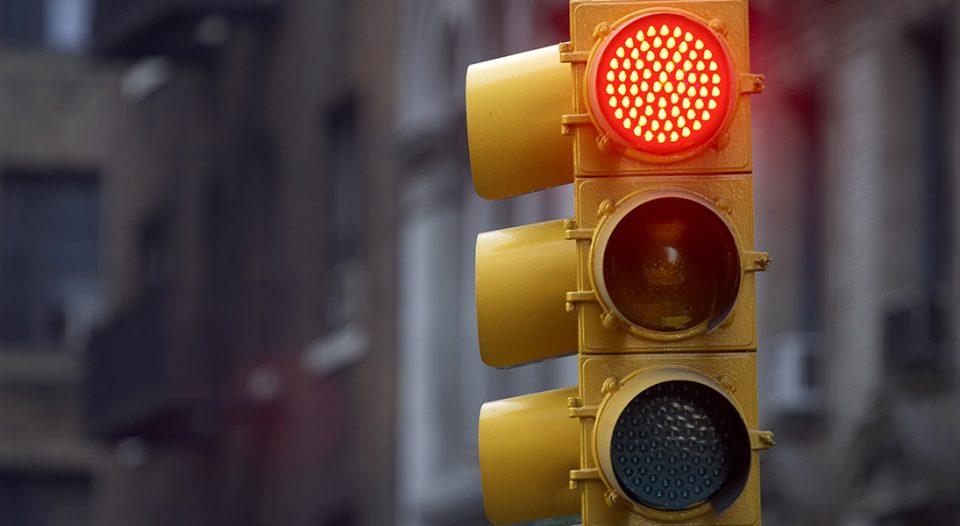 Traffic light on red.