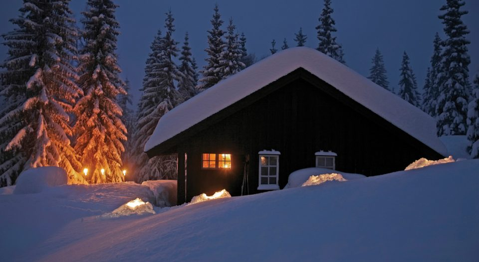 lodge with snow and light