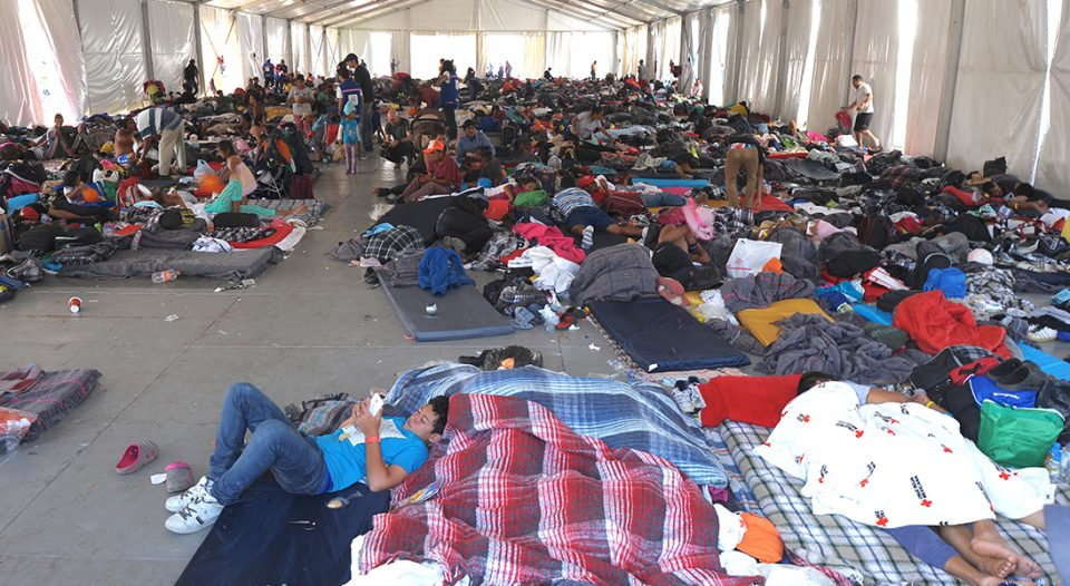 A Mexico City shelter houses members of the migrant caravan of Central Americans heading to the United States.