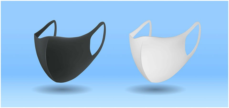White and black masks
