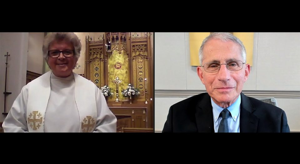 Anthony Fauci speaks at a St. Luke Lutheran Church service